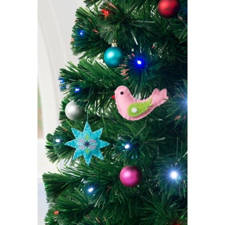 Holiday Time Star and Bird Christmas Tree Ornament Decorations, Set of 6, -