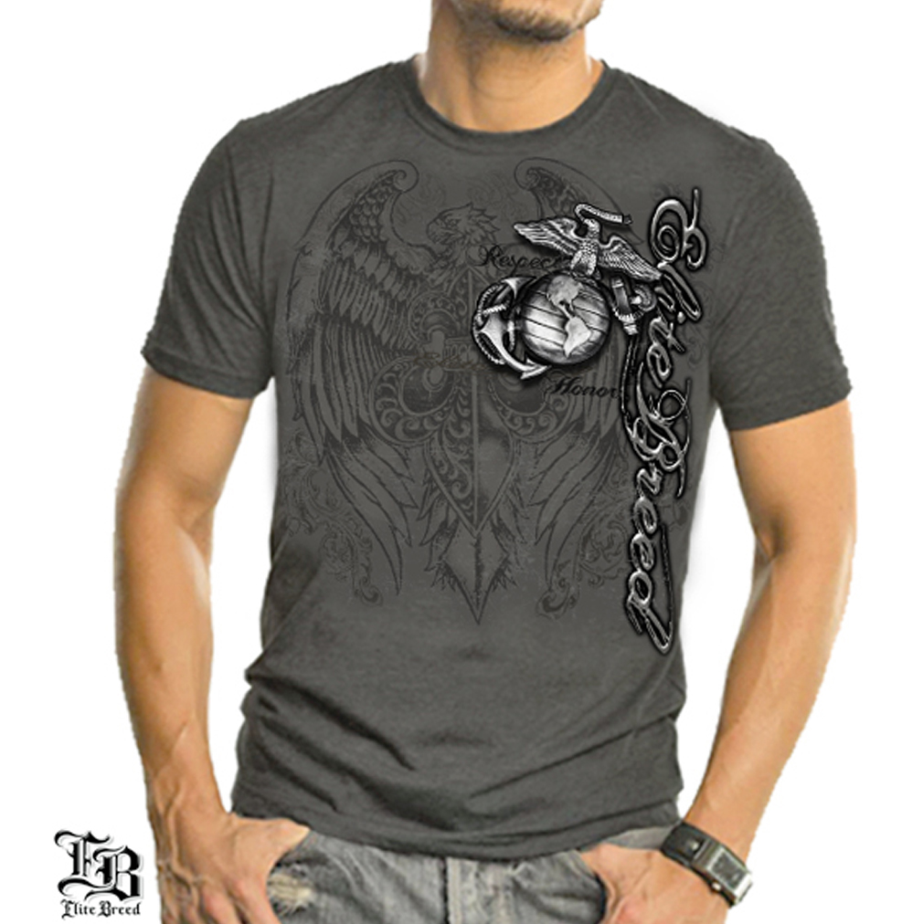 Erazor Bits Chorcoal Gray 100% Cotton Marines Eagle Elite Breed T-Shirt (Medium)