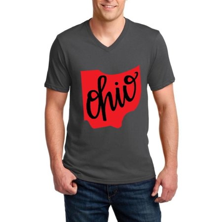 Ohio State Flag Men V-Neck Shirts Ringspun Tee - Ohio State Parks Halloween