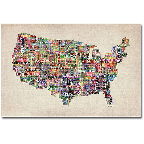 """Trademark Art """"US Cities Text Map VI"""" Canvas Wall Art By"""