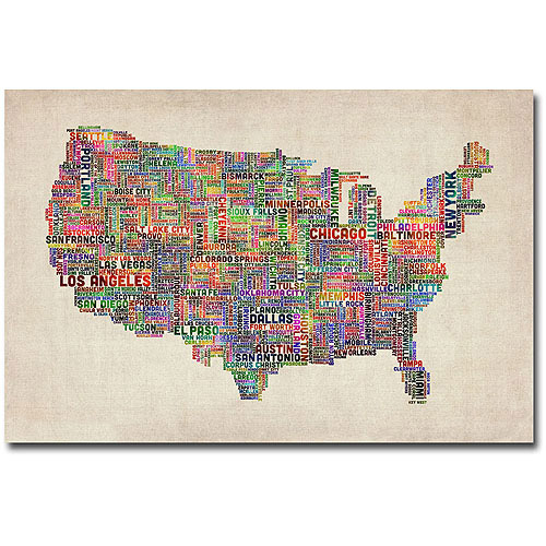 "Trademark Art ""US Cities Text Map VI"" Canvas Wall Art by Michael Tompsett"