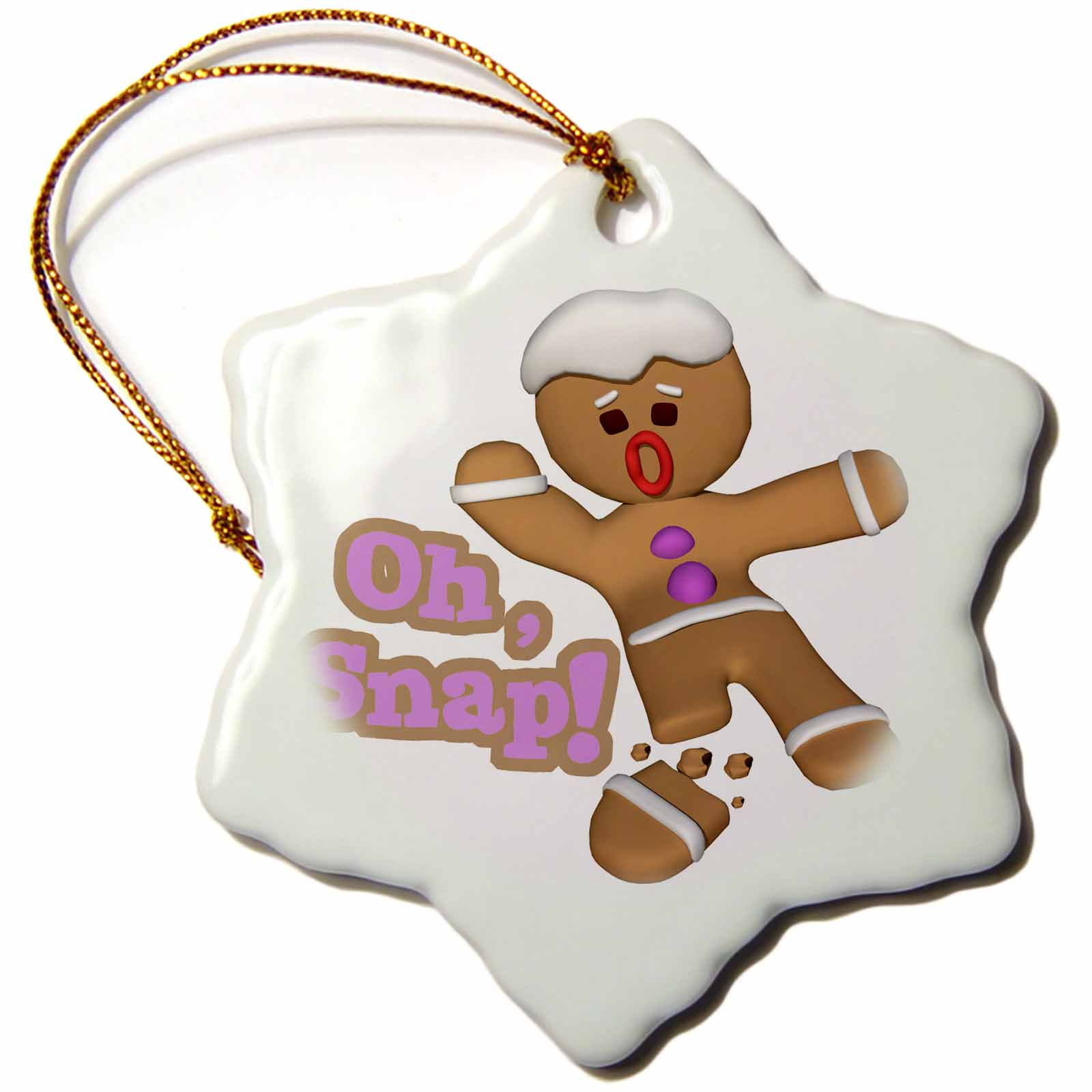 3dRose Funny Oh Snap Broken Snapped Gingerbread Man Cookie Holiday Christmas Humor, Snowflake Ornament, Porcelain, 3-inch