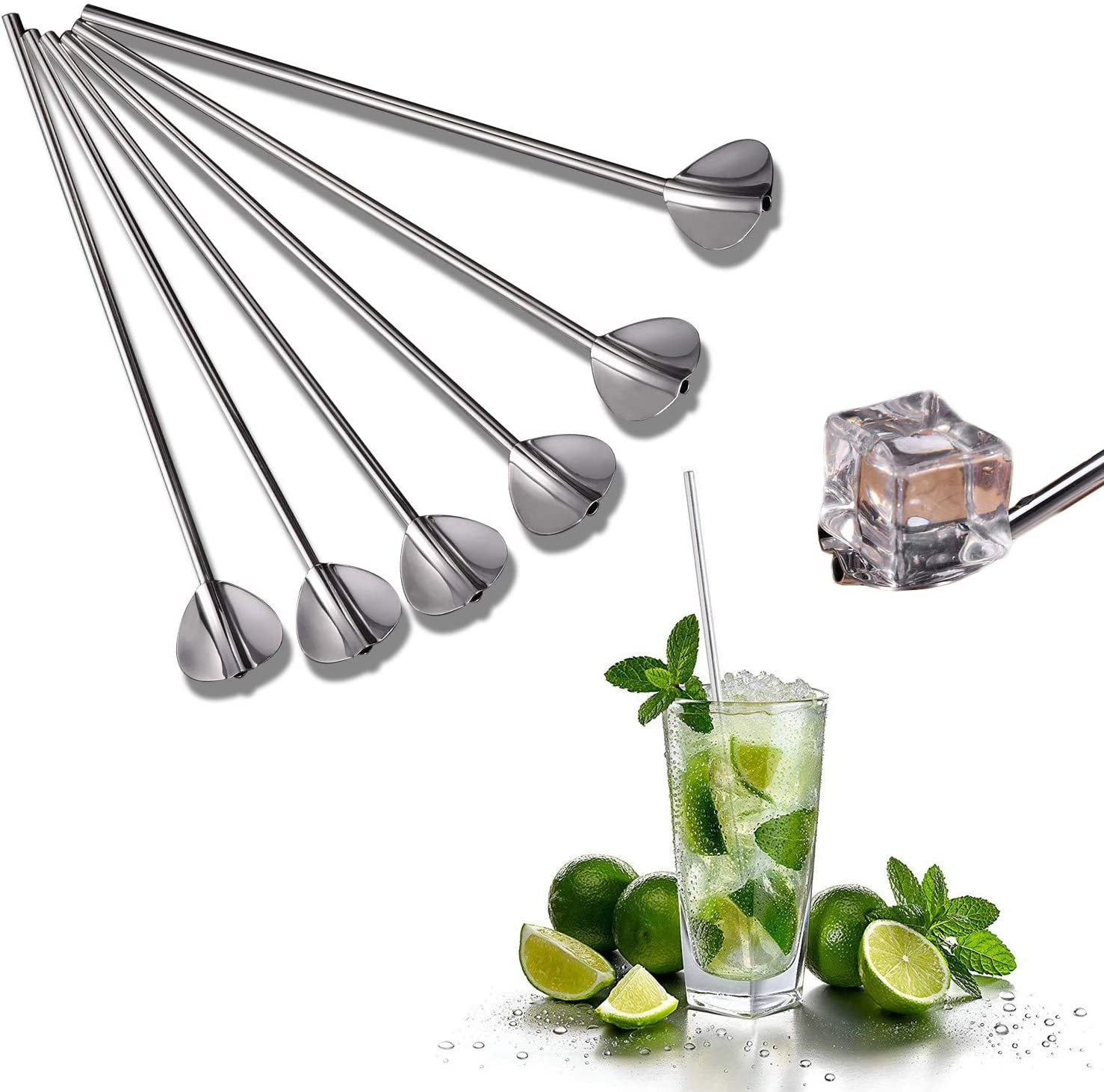 Drinking Straw Reusable Metal Straw Set Bubble Milk Tea Straws Heart-shaped