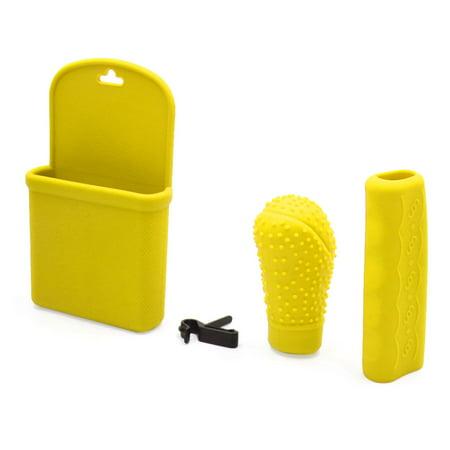 3 in 1 Yellow Silicone Car Gear Shift Knob Hand Brake Cover Storage Box (1 2 3 4 Fif Shift Knob)