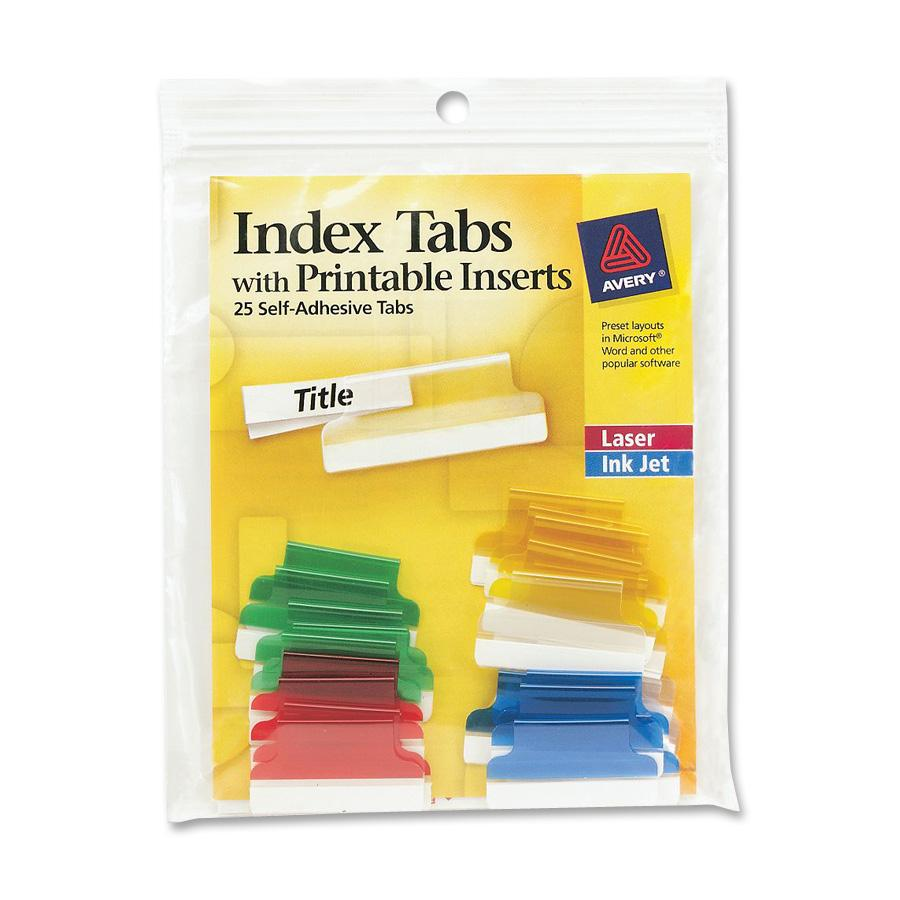Avery Index Tabs with Printable Inserts, 25   Pack (Quantity) by Avery