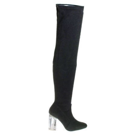 Cameron2 by X2B, Over The Knee Thigh High Dress Boots w Perspex Lucite Block Heel - Black Thigh High Halloween Boots