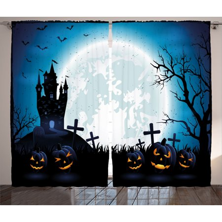 Halloween Decorations Curtains 2 Panels Set, Spooky Concept with Scary Icons Old Celtic Harvest Figures in Dark Image, Window Drapes for Living Room Bedroom, 108W X 90L Inches, Blue, by - Halloween Celtico