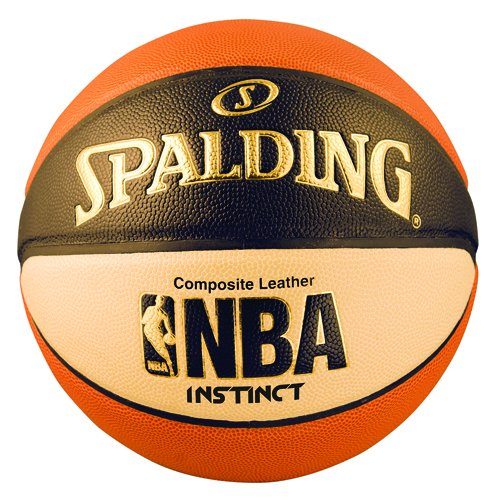 Men's NBA Instinct Basketball, Orange/Black/Oatmeal, Size 7 (29.5-Inch), Premium Composite Cover By Spalding