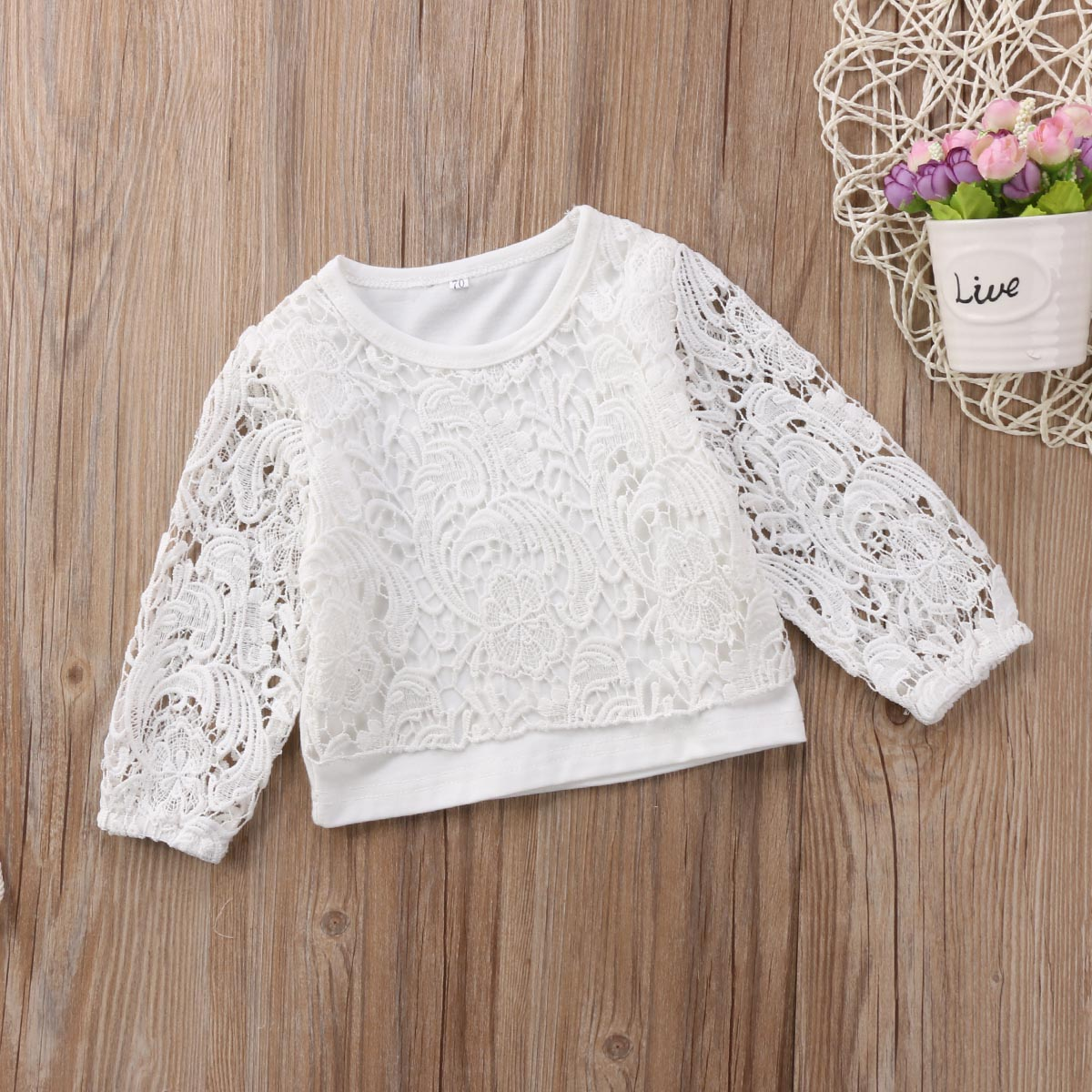 Toddler Kids Baby Girls Hollow Lace Long Sleeve T-Shirt Blouse Tops Outfit