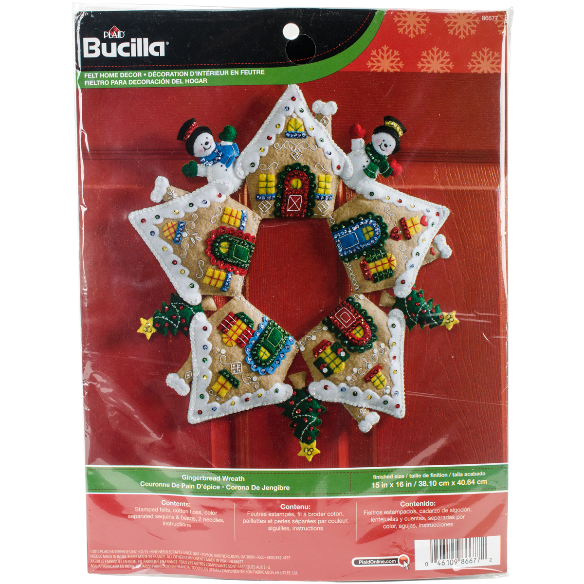 "Gingerbread Wreath Felt Applique Kit, 17"" Round"