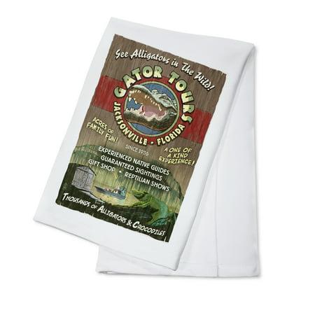 Jacksonville, Florida - Alligator Tours Vintage Sign - Lantern Press Poster (100% Cotton Kitchen Towel) - Florida Vintage Linen