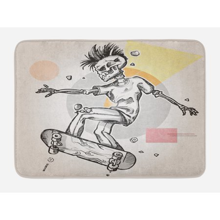 Skull Bath Mat, Punk Rocker Skeleton Boy on a Skateboard Skiing with Abstract Background, Non-Slip Plush Mat Bathroom Kitchen Laundry Room Decor, 29.5 X 17.5 Inches, Pale Grey and Cream, Ambesonne ()