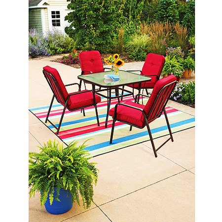 Mainstays Lawson Ridge 5 Piece Patio Dining Set Red Seats 4