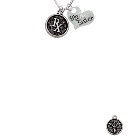 Medical Caduceus Seal   Rx Big Sister Heart Necklace  18   2