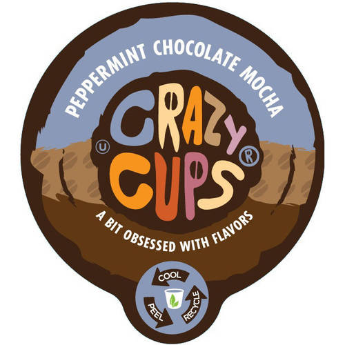 Crazy Cups Peppermint Chocolate Mocha Flavored Coffee Single Serve Cups, 22 count