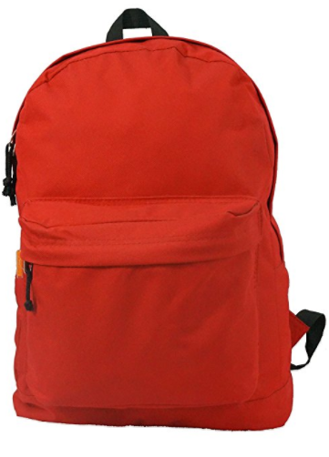 Backpack 18 inch Padded Back School Day Pack Classic Book Bag Mesh Pocket Red