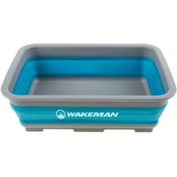 Collapsible Multiuse Wash Bin- Portable Wash Basin/Dish Tub/Ice Bucket with 10 L Capacity for Camping, Tailgating, More by Wakeman Outdoors (Blue)
