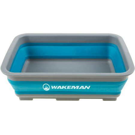 Blue Ice Bucket (Collapsible Multiuse Wash Bin- Portable Wash Basin/Dish Tub/Ice Bucket with 10 L Capacity for Camping, Tailgating, More by Wakeman Outdoors)