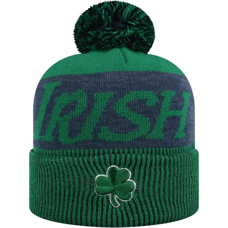 91e26c555 Women's Russell Green/Navy Notre Dame Fighting Irish Frore Cuffed Knit Hat  With Pom - OSFA