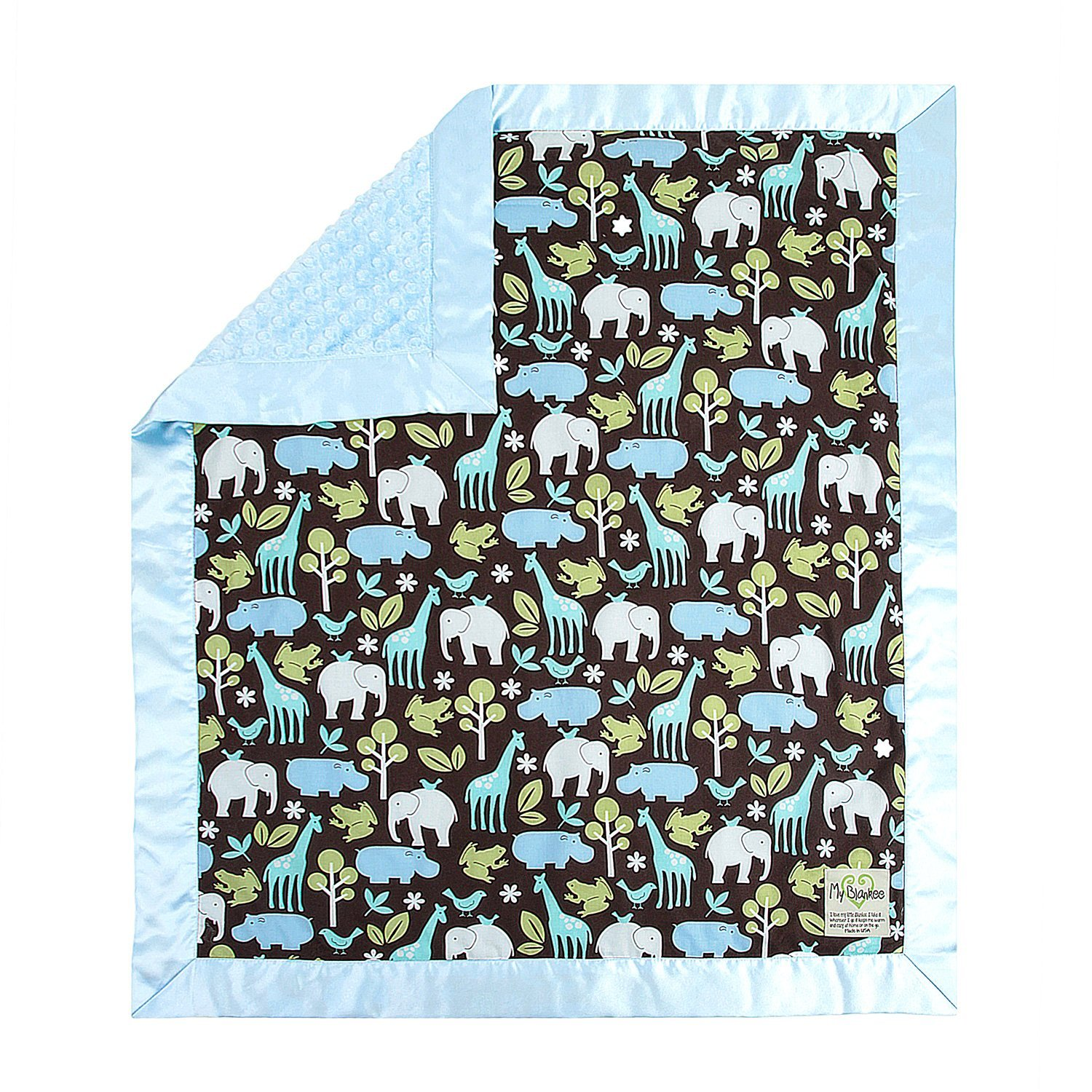 My Blankee Zoology Lagoon Cotton Blanket with Minky Dot, ...