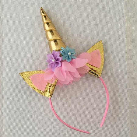 KABOER 2019 Glitter Metallic  Unicorn Headband Girls Chiffon Flowers Hairband For Kids leaf flower Horn Party Hair Accessories - Unicorn Horn Headband