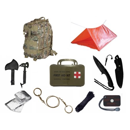 Ultimate Arms Gear Level 3 Assault Molle Taccam Camo Backpack Kit  Signal Mirror  Polarshield Blanket  Knife Fire Starter  Wire Saw  Axe  50 Foot Paracord  Camping Tube Tent   First Aid Kit