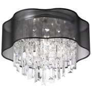 Radionic Hi Tech FM-ILL-144FH-PC-815-RHT Illusion 4 Light Crystal Flush Mount Fixture With Black Laminated Organza Shade