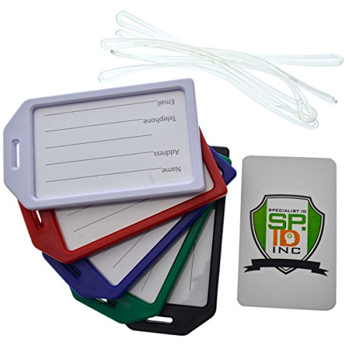 "5 Pack of Premium Rigid Luggage Tag Holders with 6"" Worm Loops by Specialist ID"