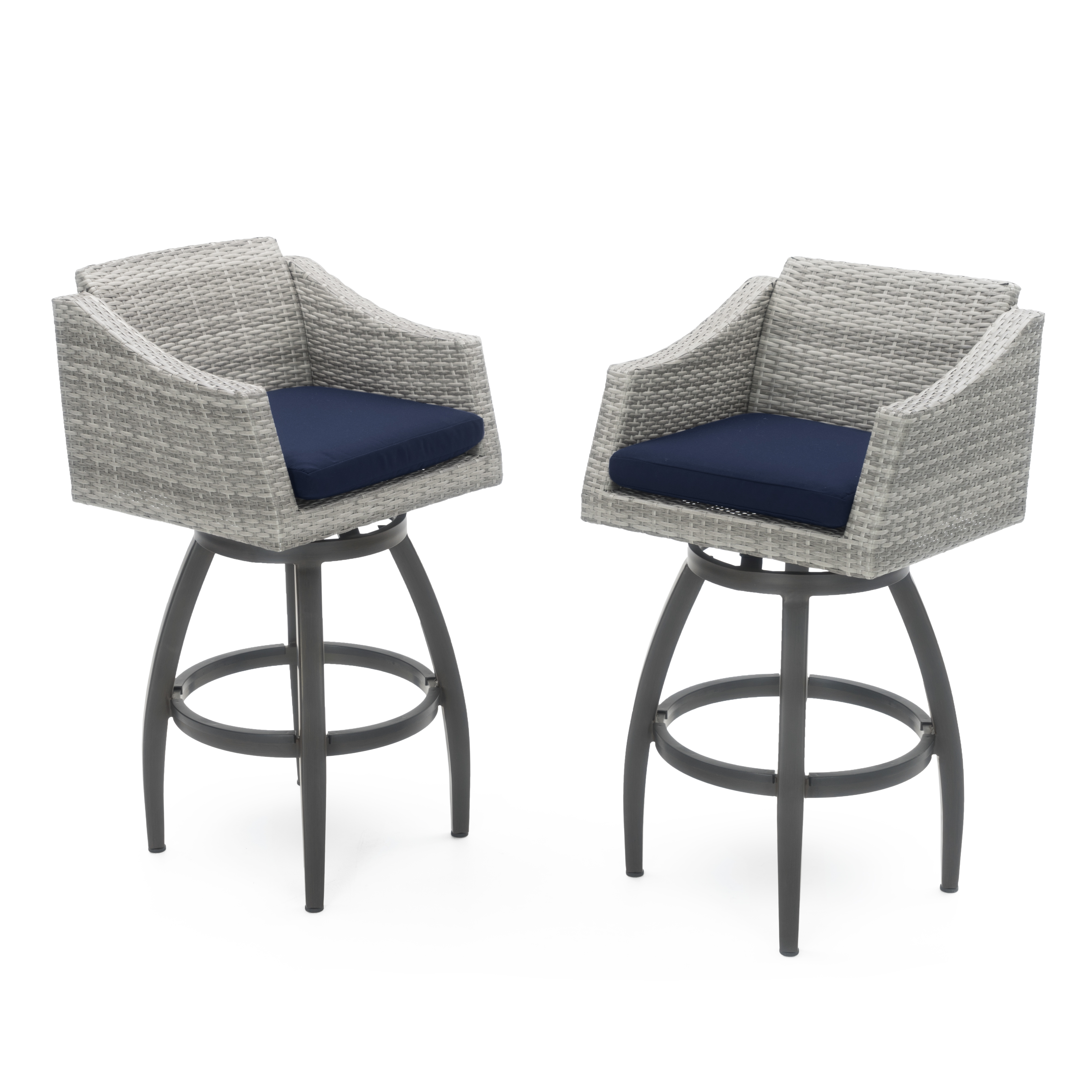 Cannes Set of 2 Swivel Barstools in Sunbrella Navy Blue by RST Brands
