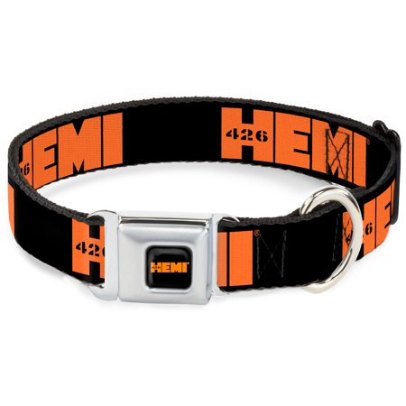 Dog Collar HEC-HEMI 426 Logo Full Color Black Orange - HEMI 426 Logo Repeat Pet Collar