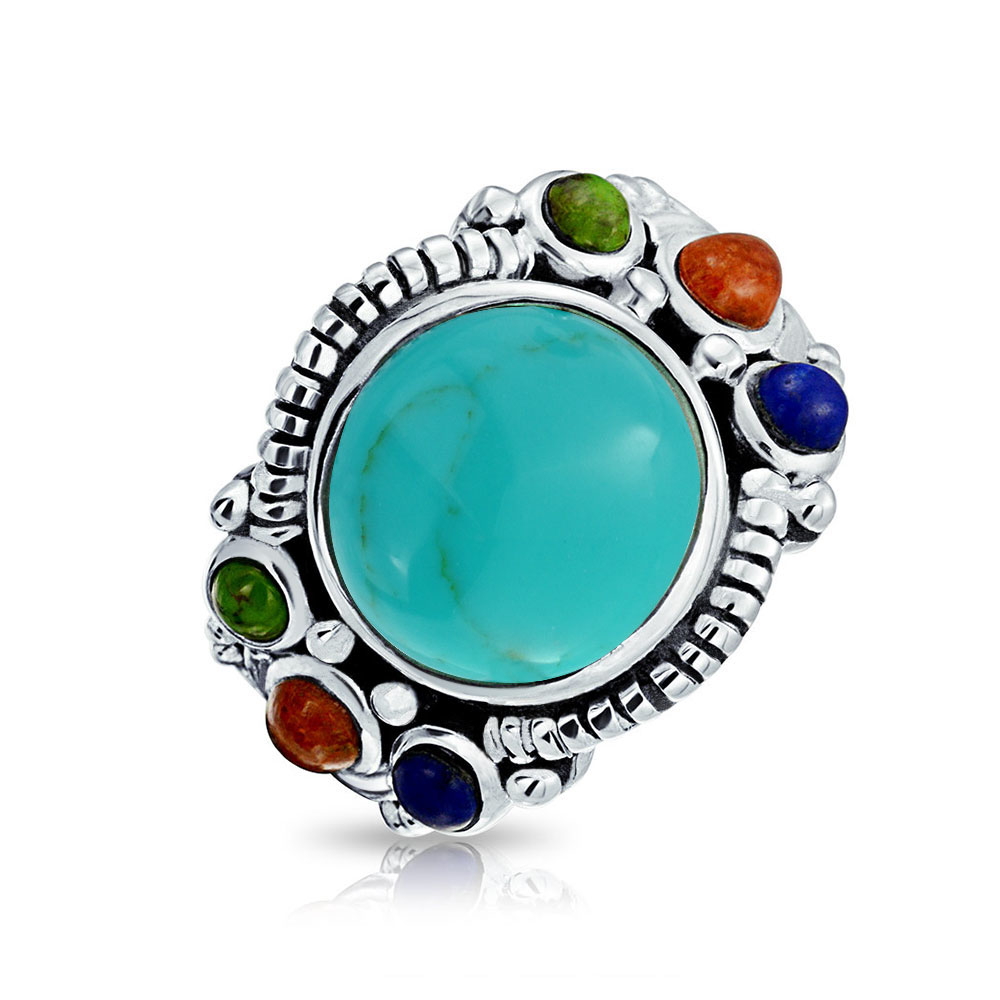 Real Gemstones Round cabochon Turquoise Ring 925 Silver Blue Turquoise Real Gemstones Ring Most Jewellery Good Seller Gift for Anniversary Most Rings