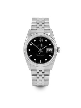 Pre Owned Rolex Datejust 16014 w/ Black Diamond Dial 36mm Men's Watch (Certified Authentic & Warranty Included)