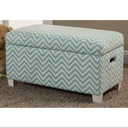 Upholstered Storage Bench In Blue Zig Zag