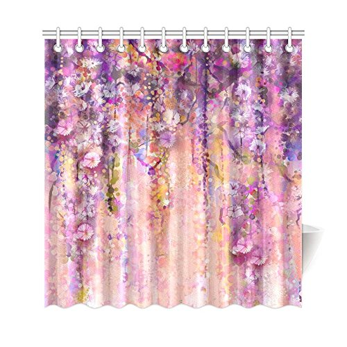 GCKG Spring Floral Shower Curtain Purple Wisteria Flowers Tree Polyester Fabric Bathroom Sets With Hooks 66x72 Inches