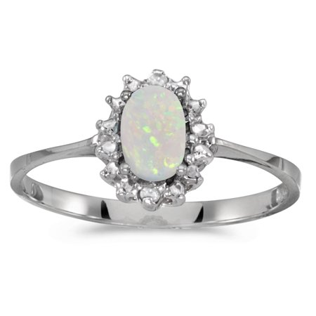 10k White Gold Oval Opal And Diamond Ring (Diamond And Tourmaline Rings)
