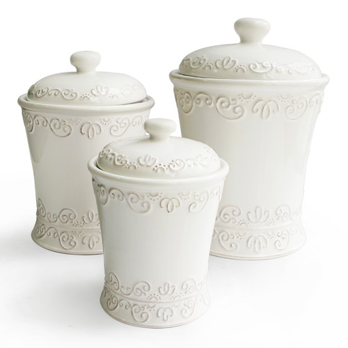 BIANCA SCROLL WHITE SET/3 CANISTERS