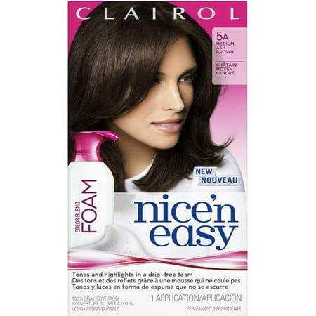 Clairol Nice N Easy Foam Hair Color for Women, Medium Ash Brown, 5A