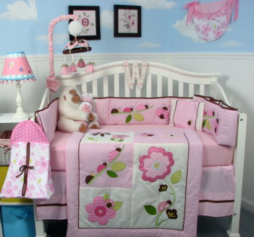 13 Piece Ladybug Party Baby Nursery Crib Bedding Set