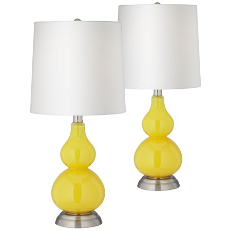 360 Lighting Modern Accent Table Lamps Set of 2 Citrus Yellow Glass Gourd Off White Fabric Shade for Living Room Family Bedroom