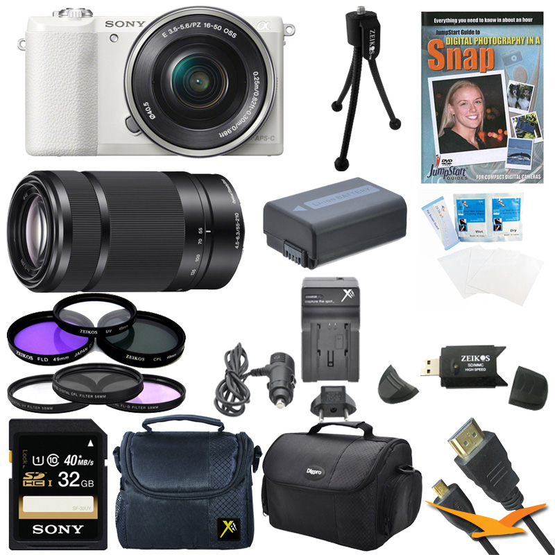 Sony a5100 ILCE5100L/B ILCE5100L ILCE5100 ILCE5100lb 16-50mm Interchangeable Lens Camera and SEL 55-210 Zoom Lens (Black) with 3-Inch Flip Up LCD (Black) Bundle w/ 32GB SD card, Spare Battery + More