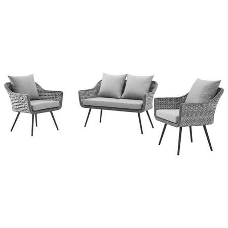 Contemporary Modern Urban Designer Outdoor Patio Balcony Garden Furniture Lounge Sofa and Chair Set, Aluminum Fabric Wicker Rattan, Grey Gray