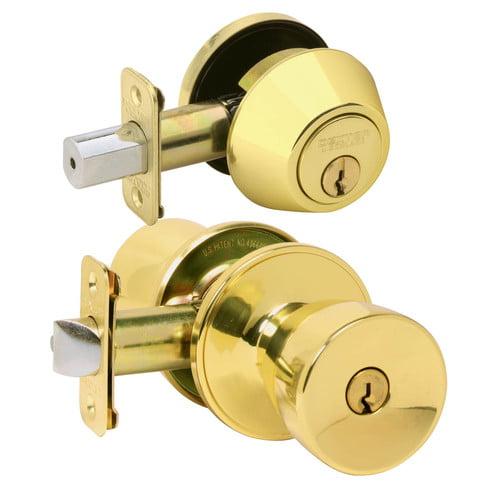 Schlage JC60VJ54VBYR605 Bright Brass Byron Keyed Entry Knob and Deadbolt Combo