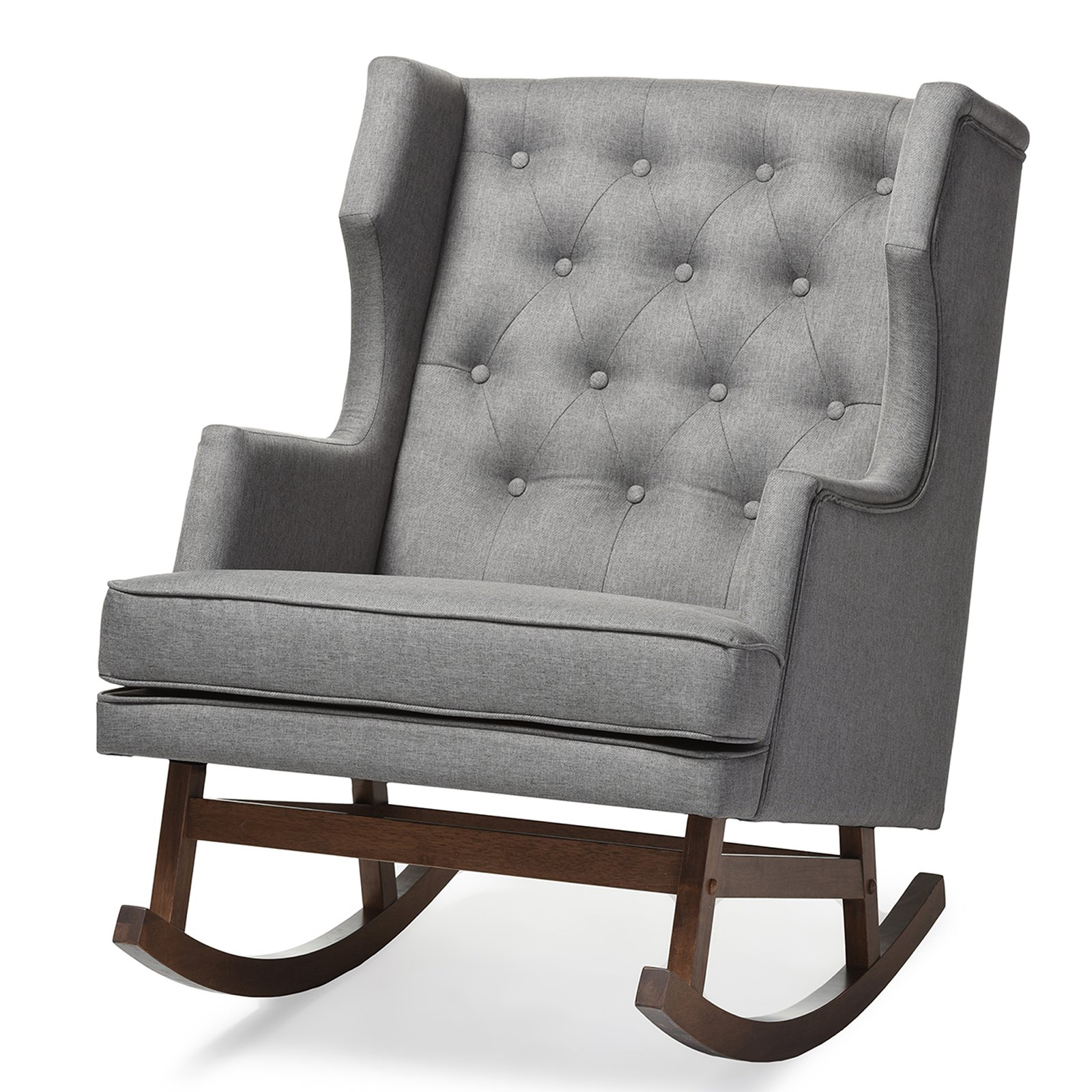 Baxton Studio Iona Mid-century Retro Modern Wingback Rocking Chair