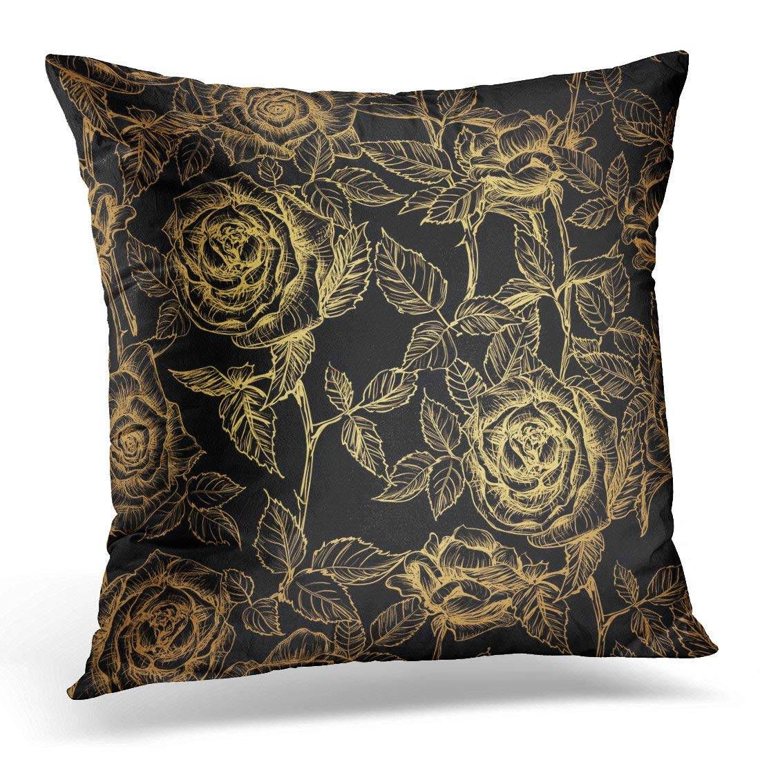 USART Throw Pillow Case Cushion Cover Gatsby Gold Elegant of Roses and Petals in Old Engraving Style on Black Garden Pillow Cover 18x18 Inches