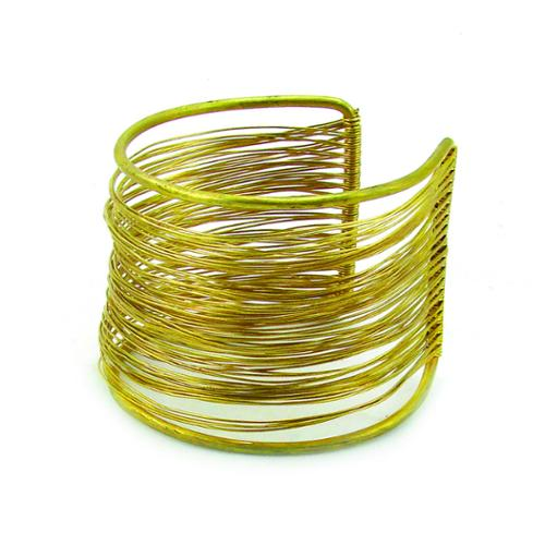Global Crafts Handmade Dozens of Strands Brass Wire Cuff (India)