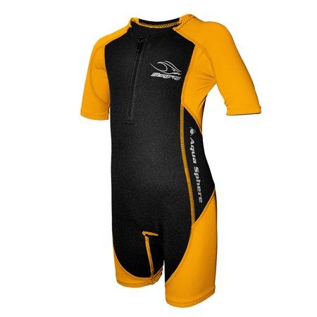 Aqua Sphere Stingray Suit Core Warmer Nylon Youth Short Sleeve, Black/Orange, 4 (Stingray Suit)
