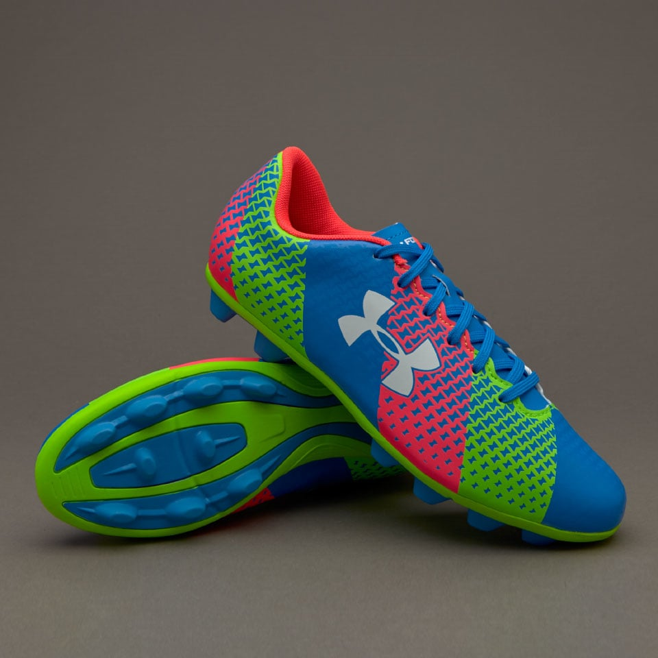 UNDER ARMOUR JUNIOR CLUTCHFIT FORCE HG FOOTBALL, Blue/Green/Pink, 3Y YOUTH