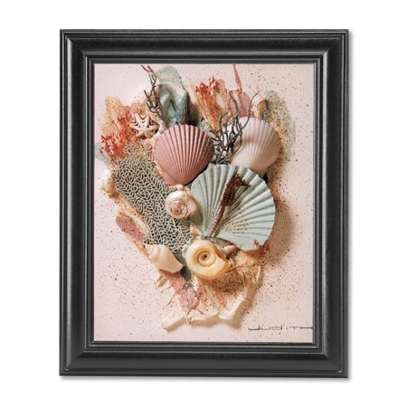 Ocean Starfish Sea Shell Beach Bathroom # 2 Wall Picture Black Framed Tiffany Sea Shell