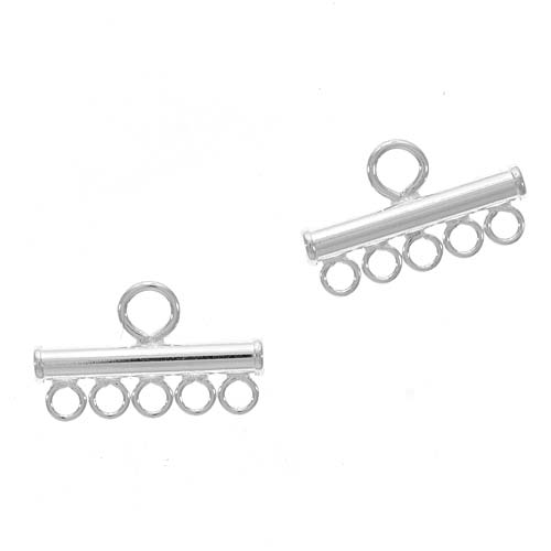 Sterling Silver 925 5-Strand Reducer Bead Bars 13.5mm (1)