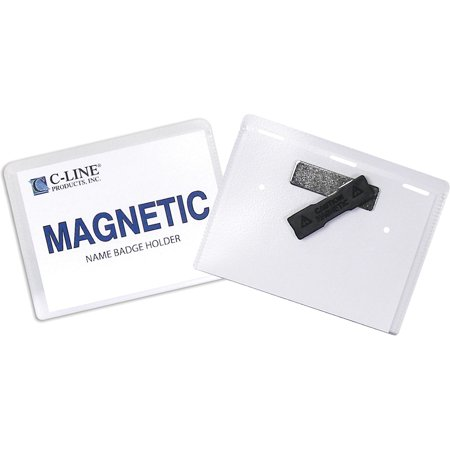 C-Line Magnetic Name Badge Holder Kit, Horizontal, 4w x 3h, Clear, 20/Box (Metal Magnetic Name Badges)